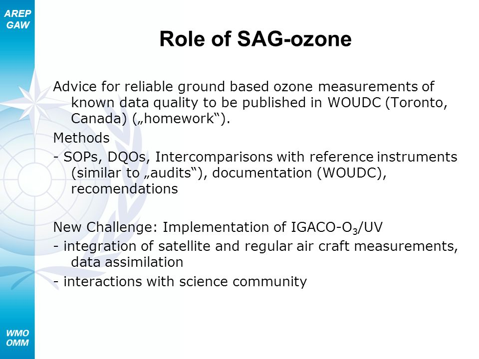 AREP GAW Role of SAG-ozone Advice for reliable ground based ozone measurements of known data quality to be published in WOUDC (Toronto, Canada) (homew