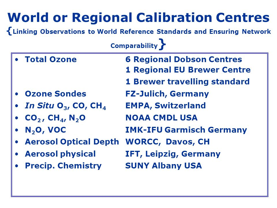 World or Regional Calibration Centres { Linking Observations to World Reference Standards and Ensuring Network Comparability } Total Ozone6 Regional D