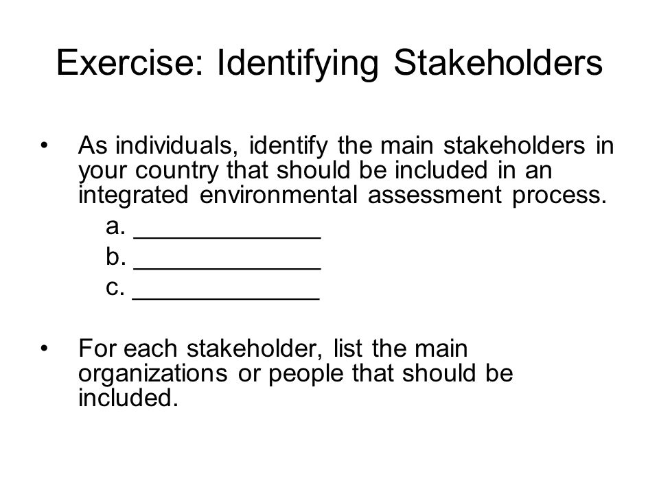 As individuals, identify the main stakeholders in your country that should be included in an integrated environmental assessment process. a. _________