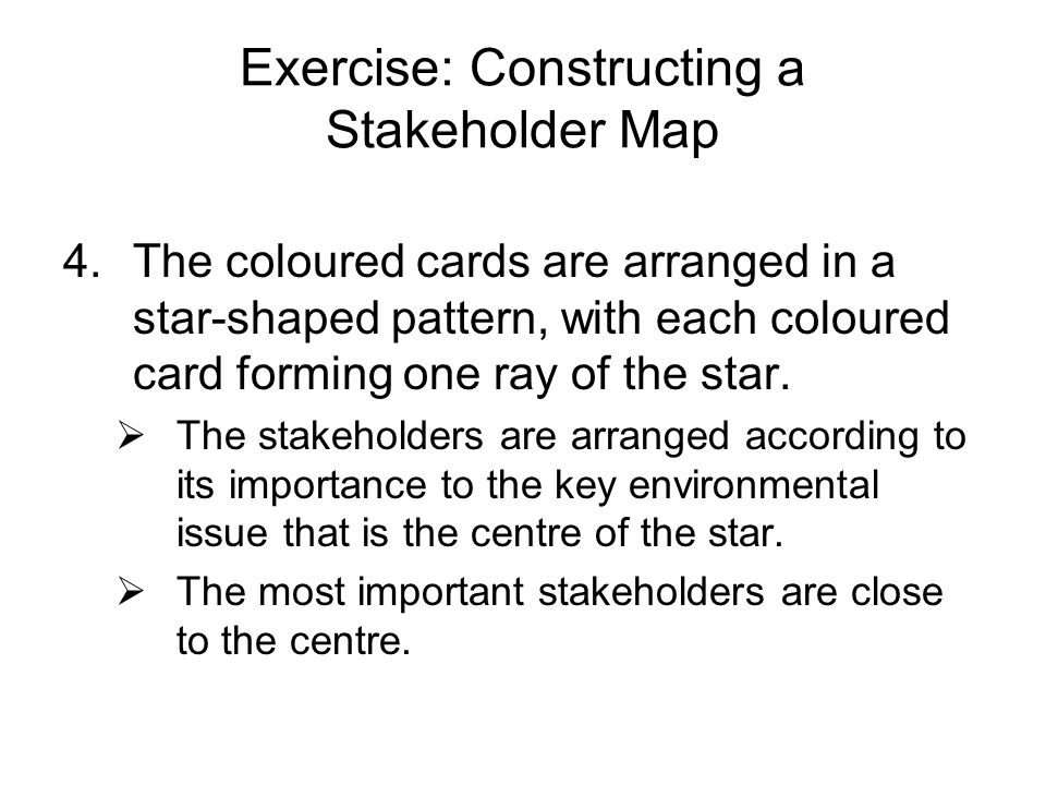 Exercise: Constructing a Stakeholder Map 4.The coloured cards are arranged in a star-shaped pattern, with each coloured card forming one ray of the st