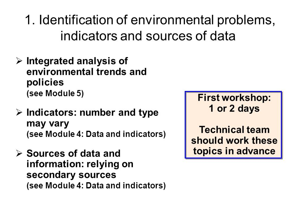 1. Identification of environmental problems, indicators and sources of data Integrated analysis of environmental trends and policies (see Module 5) In