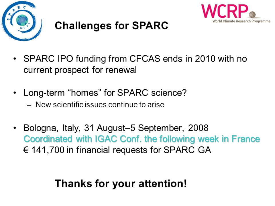 SPARC IPO funding from CFCAS ends in 2010 with no current prospect for renewal Long-term homes for SPARC science? –New scientific issues continue to a