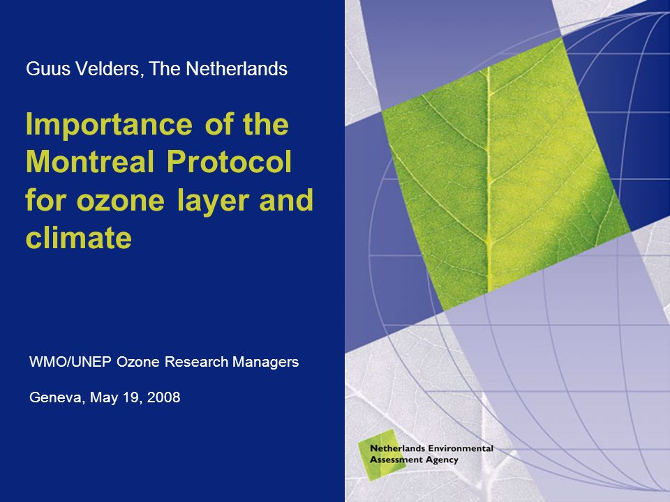 Importance of the Montreal Protocol for ozone layer and climate Guus Velders, The Netherlands WMO/UNEP Ozone Research Managers Geneva, May 19, 2008
