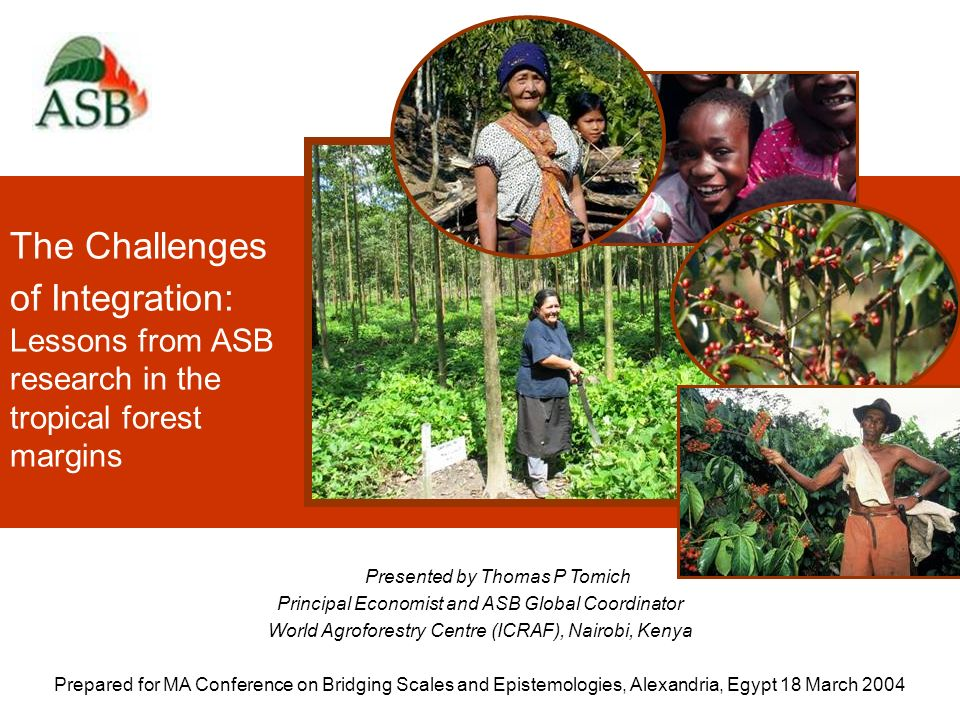 The Challenges of Integration: Lessons from ASB research in the tropical forest margins Presented by Thomas P Tomich Principal Economist and ASB Global Coordinator World Agroforestry Centre (ICRAF), Nairobi, Kenya Prepared for MA Conference on Bridging Scales and Epistemologies, Alexandria, Egypt 18 March 2004