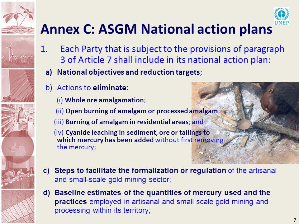 7 Annex C: ASGM National action plans 1.Each Party that is subject to the provisions of paragraph 3 of Article 7 shall include in its national action