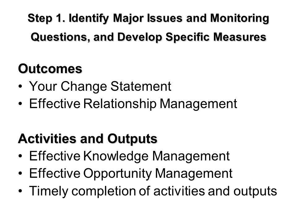 Step 1. Identify Major Issues and Monitoring Questions, and Develop Specific Measures Outcomes Your Change Statement Effective Relationship Management