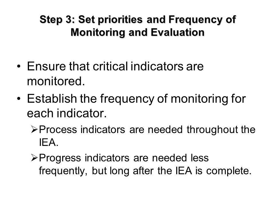 Step 3: Set priorities and Frequency of Monitoring and Evaluation Ensure that critical indicators are monitored.