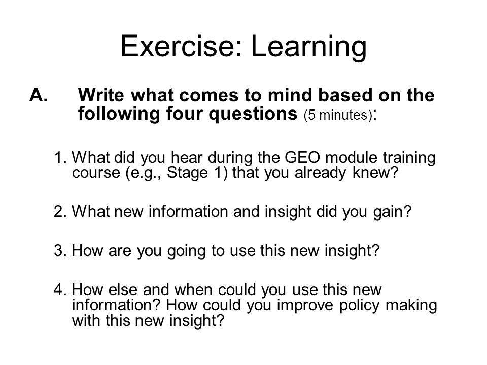 Exercise: Learning A.