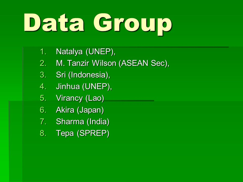 Data Group 1.Natalya (UNEP), 2.M.