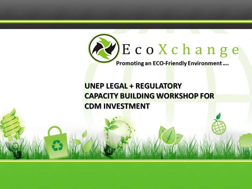 Promoting an ECO-Friendly Environment …. UNEP LEGAL + REGULATORY CAPACITY BUILDING WORKSHOP FOR CDM INVESTMENT