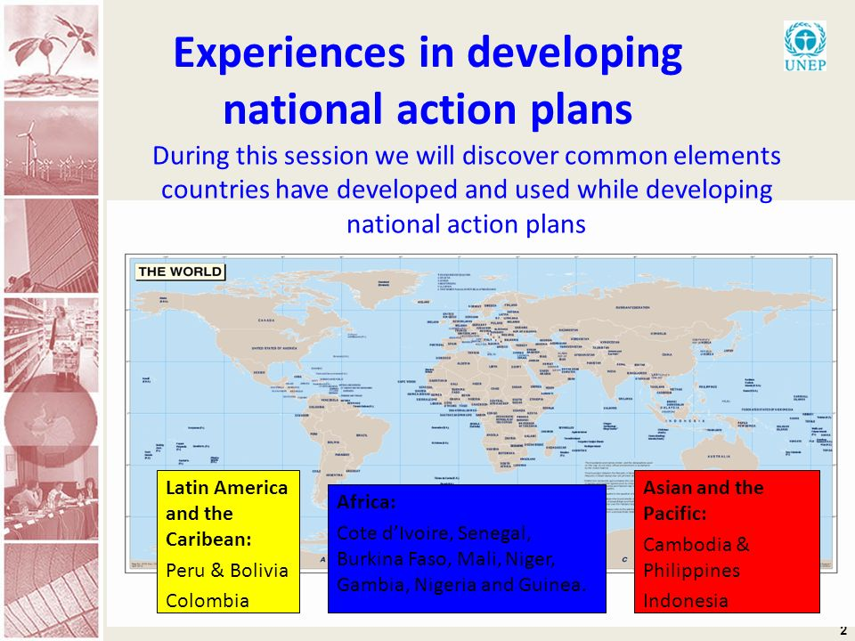 2 Experiences in developing national action plans During this session we will discover common elements countries have developed and used while develop