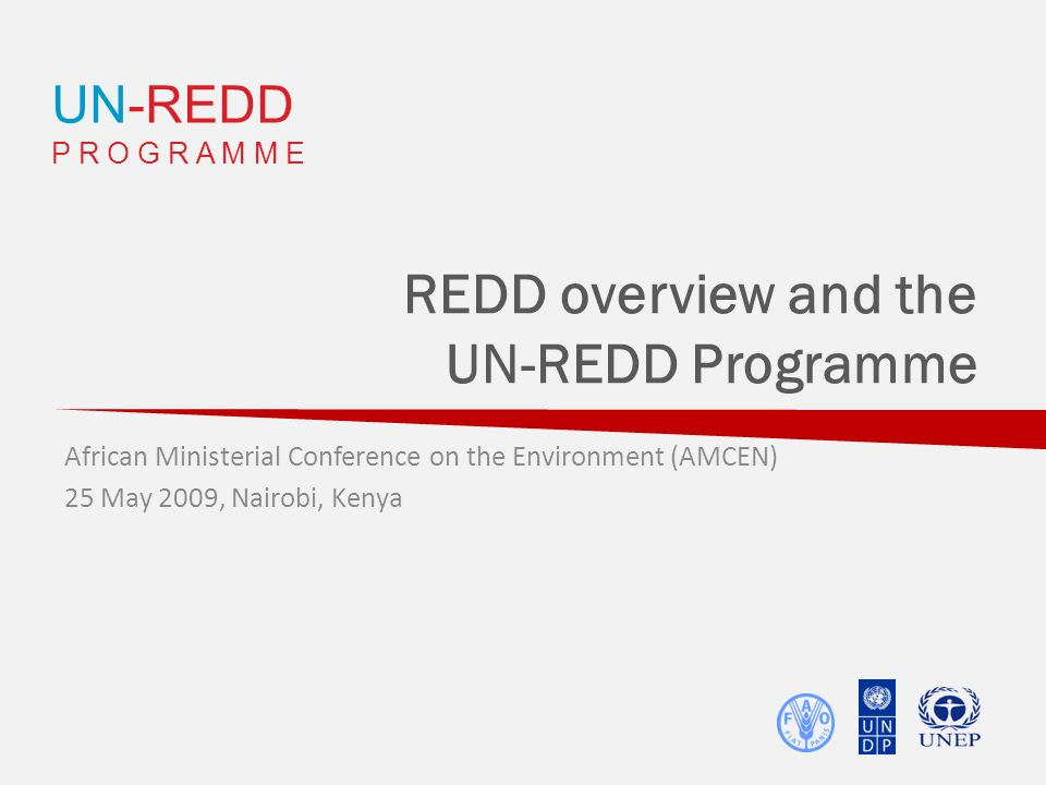 UN-REDD P R O G R A M M E REDD overview and the UN-REDD Programme African Ministerial Conference on the Environment (AMCEN) 25 May 2009, Nairobi, Keny