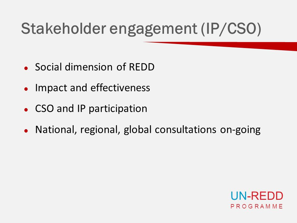 UN-REDD P R O G R A M M E Stakeholder engagement (IP/CSO) Social dimension of REDD Impact and effectiveness CSO and IP participation National, regiona