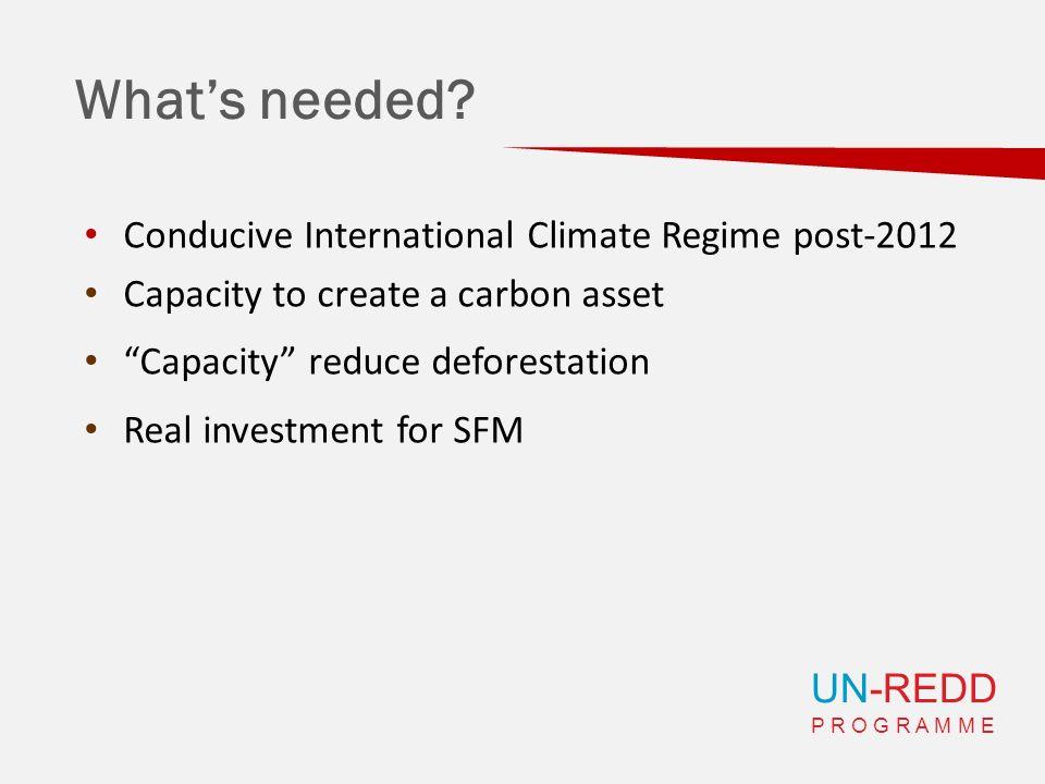 UN-REDD P R O G R A M M E Whats needed? Conducive International Climate Regime post-2012 Capacity to create a carbon asset Capacity reduce deforestati