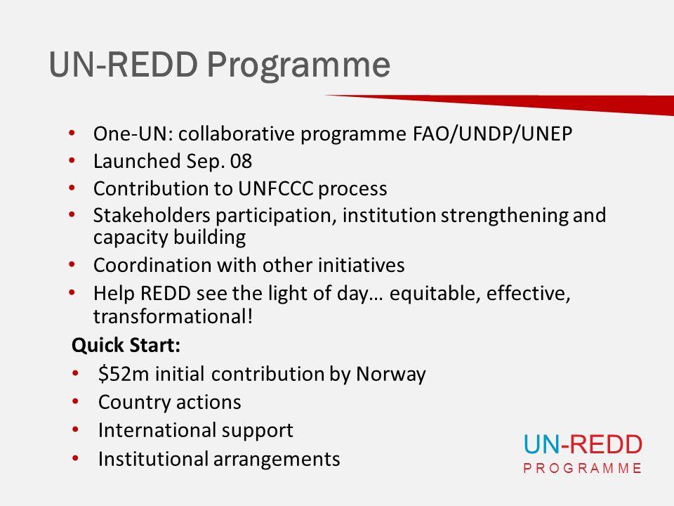 UN-REDD P R O G R A M M E UN-REDD Programme One-UN: collaborative programme FAO/UNDP/UNEP Launched Sep.
