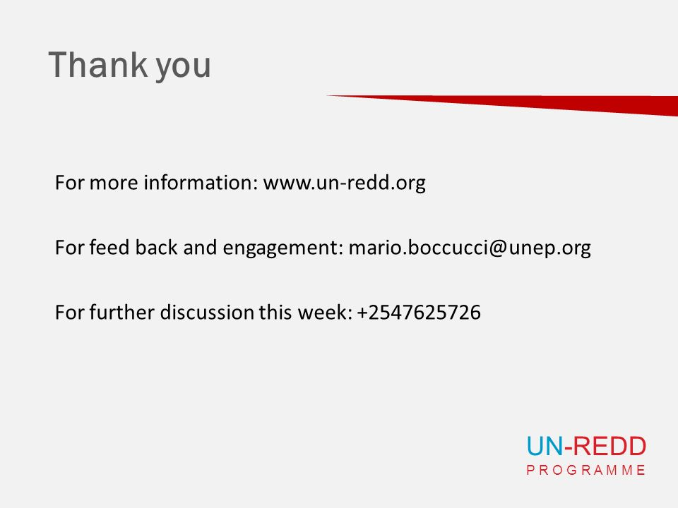 UN-REDD P R O G R A M M E Thank you For more information: www.un-redd.org For feed back and engagement: mario.boccucci@unep.org For further discussion
