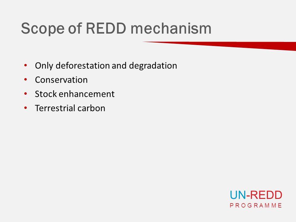 UN-REDD P R O G R A M M E Scope of REDD mechanism Only deforestation and degradation Conservation Stock enhancement Terrestrial carbon