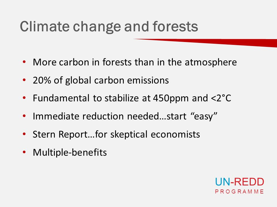 UN-REDD P R O G R A M M E Climate change and forests More carbon in forests than in the atmosphere 20% of global carbon emissions Fundamental to stabilize at 450ppm and <2°C Immediate reduction needed…start easy Stern Report…for skeptical economists Multiple-benefits