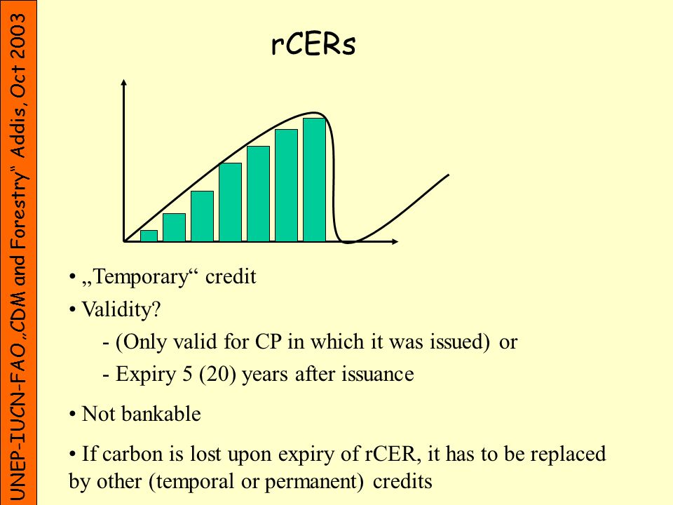 UNEP-IUCN-FAO CDM and Forestry Addis, Oct 2003 rCERs Temporary credit Validity? - (Only valid for CP in which it was issued) or - Expiry 5 (20) years