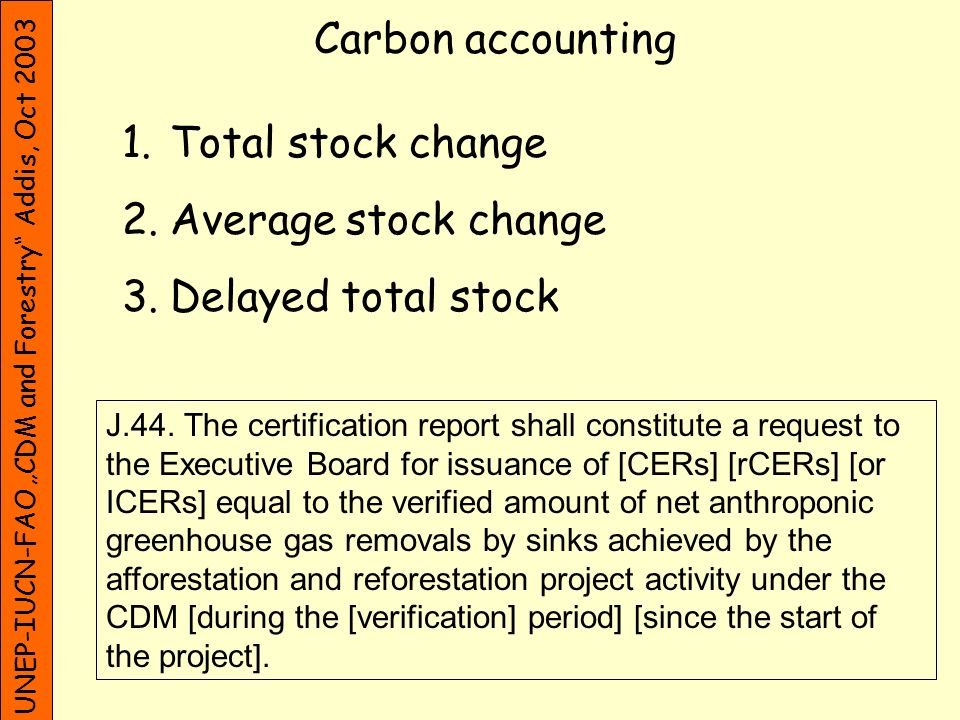 UNEP-IUCN-FAO CDM and Forestry Addis, Oct 2003 Carbon accounting 1.Total stock change 2.Average stock change 3.Delayed total stock J.44. The certifica