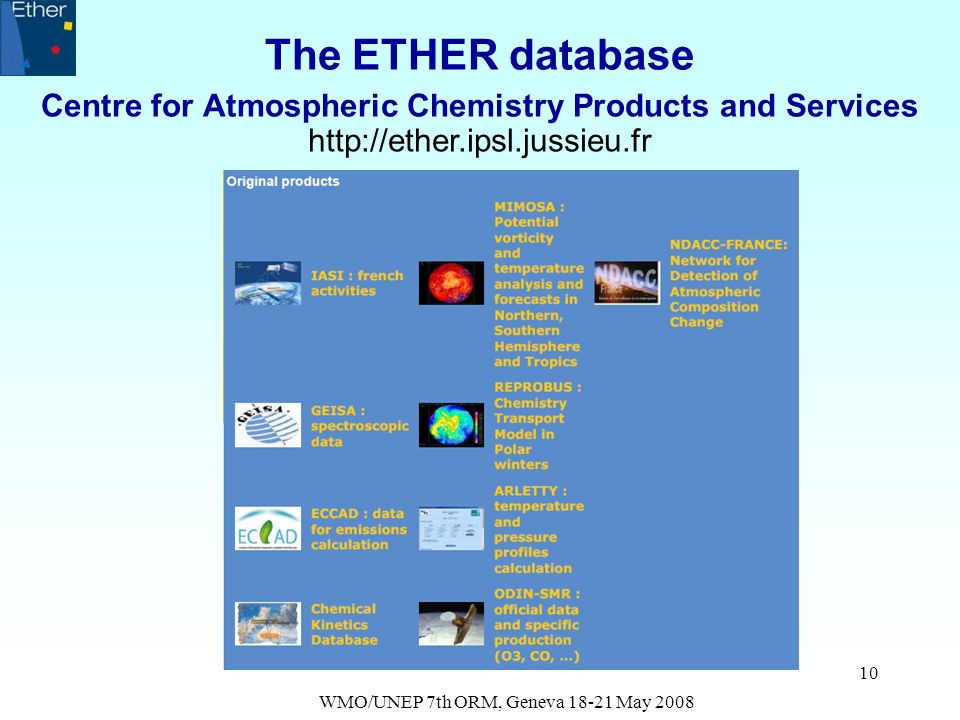WMO/UNEP 7th ORM, Geneva 18-21 May 2008 10 The ETHER database Centre for Atmospheric Chemistry Products and Services http://ether.ipsl.jussieu.fr