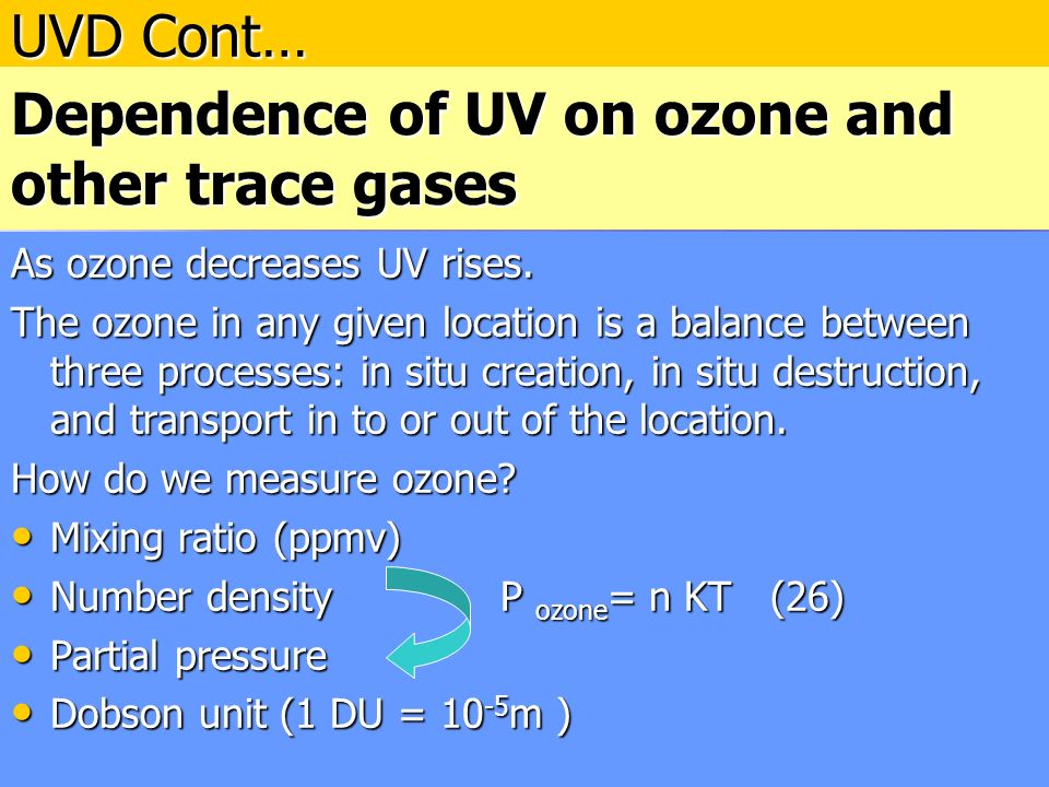 Dependence of UV on ozone and other trace gases As ozone decreases UV rises.