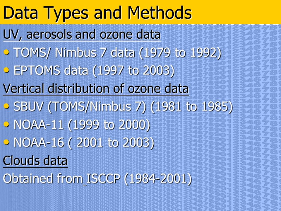 UV, aerosols and ozone data TOMS/ Nimbus 7 data (1979 to 1992) TOMS/ Nimbus 7 data (1979 to 1992) EPTOMS data (1997 to 2003) EPTOMS data (1997 to 2003) Vertical distribution of ozone data SBUV (TOMS/Nimbus 7) (1981 to 1985) SBUV (TOMS/Nimbus 7) (1981 to 1985) NOAA-11 (1999 to 2000) NOAA-11 (1999 to 2000) NOAA-16 ( 2001 to 2003) NOAA-16 ( 2001 to 2003) Clouds data Obtained from ISCCP (1984-2001) Data Types and Methods