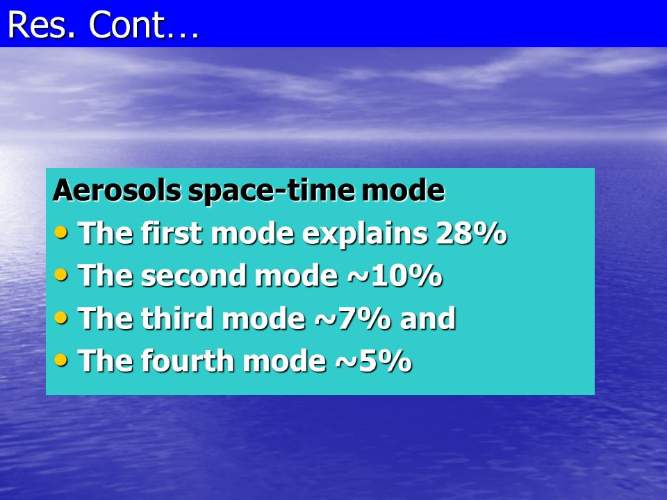 Aerosols space-time mode The first mode explains 28% The first mode explains 28% The second mode ~10% The second mode ~10% The third mode ~7% and The third mode ~7% and The fourth mode ~5% The fourth mode ~5% Res.