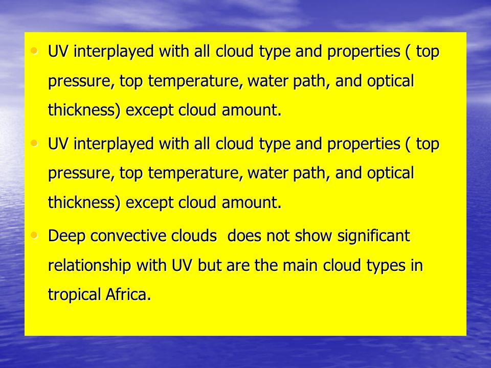 UV interplayed with all cloud type and properties ( top pressure, top temperature, water path, and optical thickness) except cloud amount.