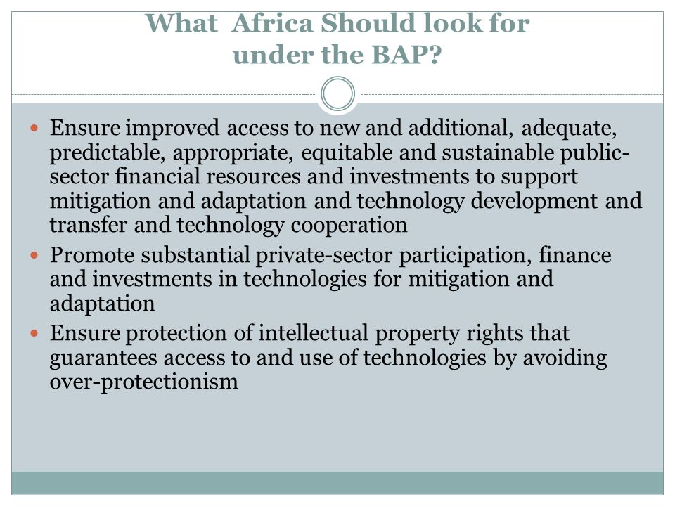What Africa Should look for under the BAP? Ensure improved access to new and additional, adequate, predictable, appropriate, equitable and sustainable
