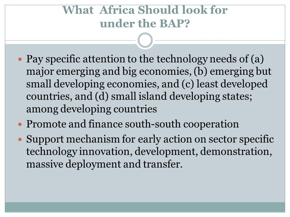 What Africa Should look for under the BAP? Pay specific attention to the technology needs of (a) major emerging and big economies, (b) emerging but sm