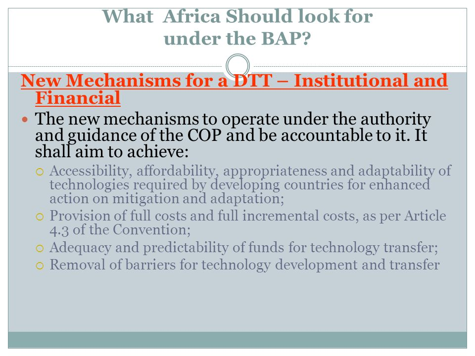 What Africa Should look for under the BAP? New Mechanisms for a DTT – Institutional and Financial The new mechanisms to operate under the authority an