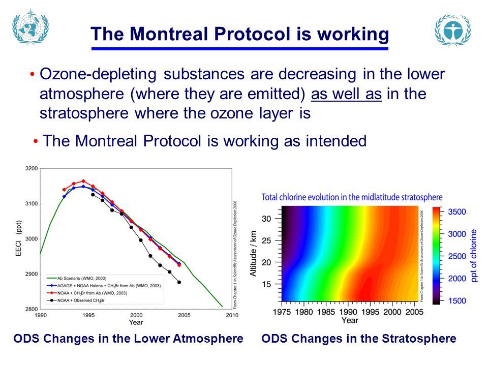 The Montreal Protocol is working Ozone-depleting substances are decreasing in the lower atmosphere (where they are emitted) as well as in the stratosphere where the ozone layer is The Montreal Protocol is working as intended ODS Changes in the Lower Atmosphere ODS Changes in the Stratosphere