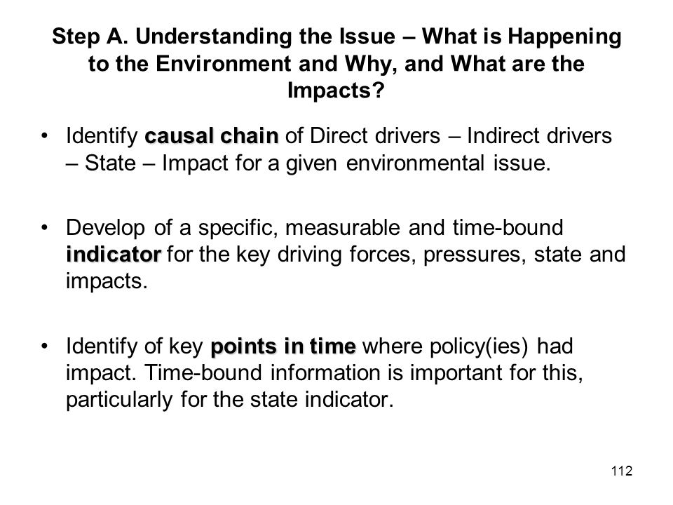 112 Step A. Understanding the Issue – What is Happening to the Environment and Why, and What are the Impacts? causal chainIdentify causal chain of Dir