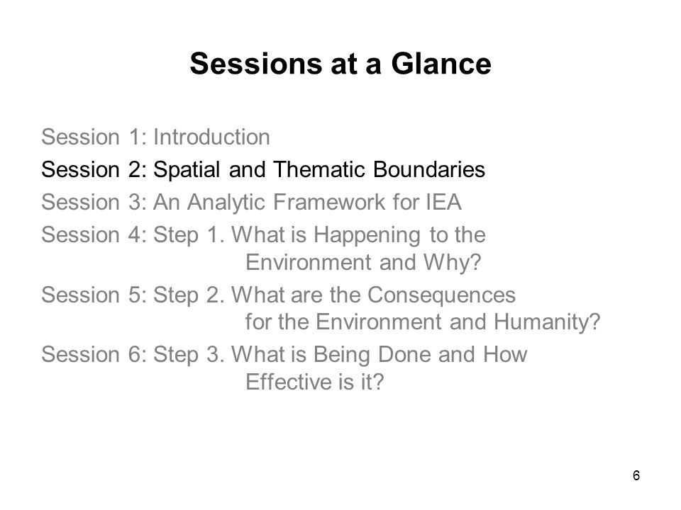 6 Sessions at a Glance Session 1: Introduction Session 2: Spatial and Thematic Boundaries Session 3: An Analytic Framework for IEA Session 4: Step 1.