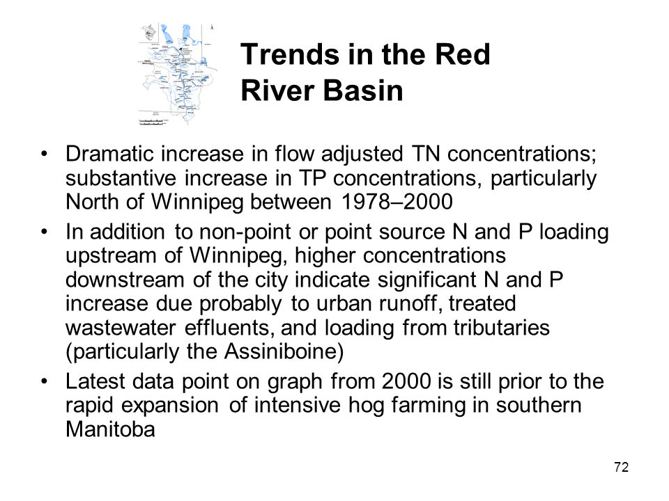72 Trends in the Red River Basin Dramatic increase in flow adjusted TN concentrations; substantive increase in TP concentrations, particularly North o
