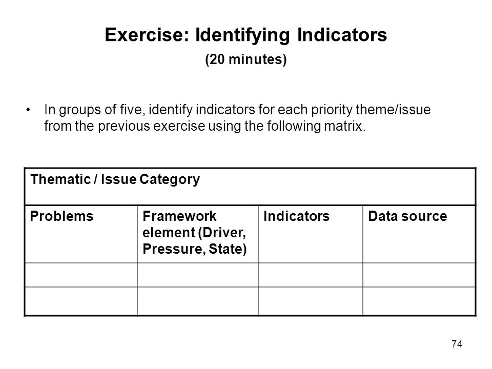 74 Exercise: Identifying Indicators (20 minutes) In groups of five, identify indicators for each priority theme/issue from the previous exercise using