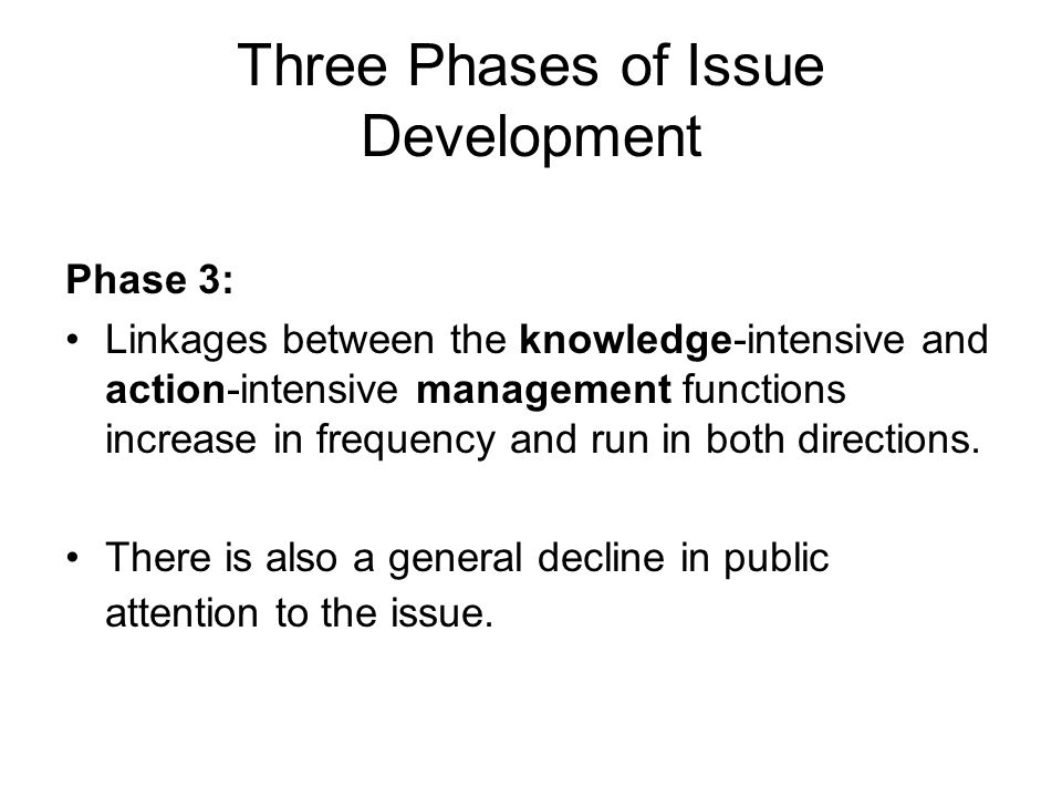 Three Phases of Issue Development Phase 3: Linkages between the knowledge-intensive and action-intensive management functions increase in frequency an