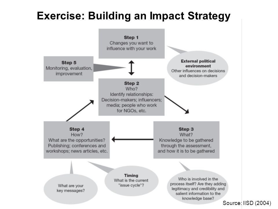 Exercise: Building an Impact Strategy Source: IISD (2004)