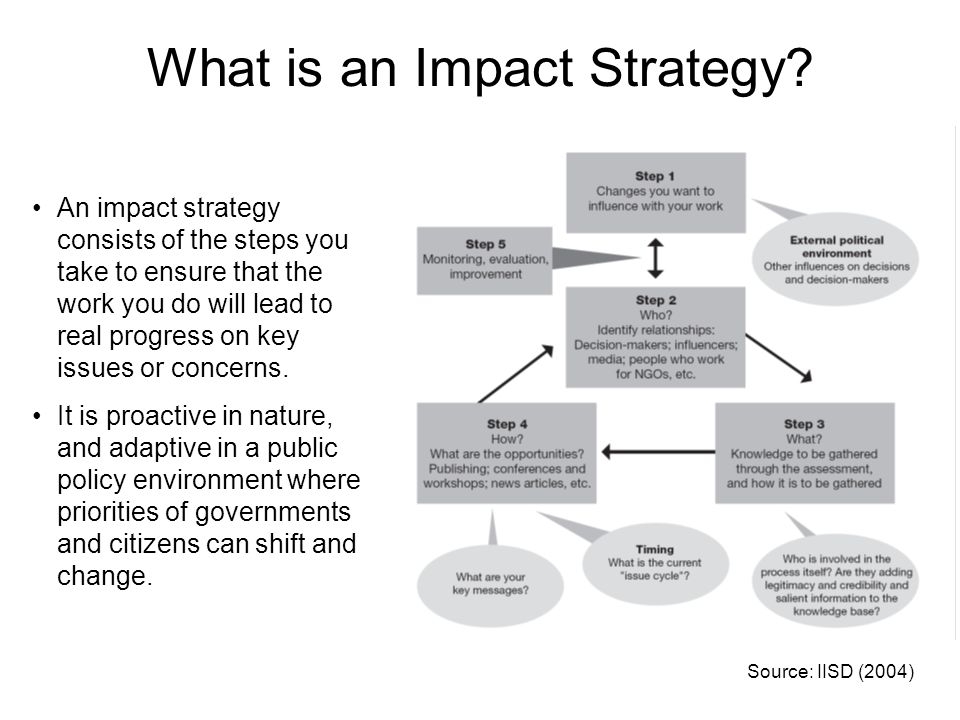 What is an Impact Strategy? An impact strategy consists of the steps you take to ensure that the work you do will lead to real progress on key issues