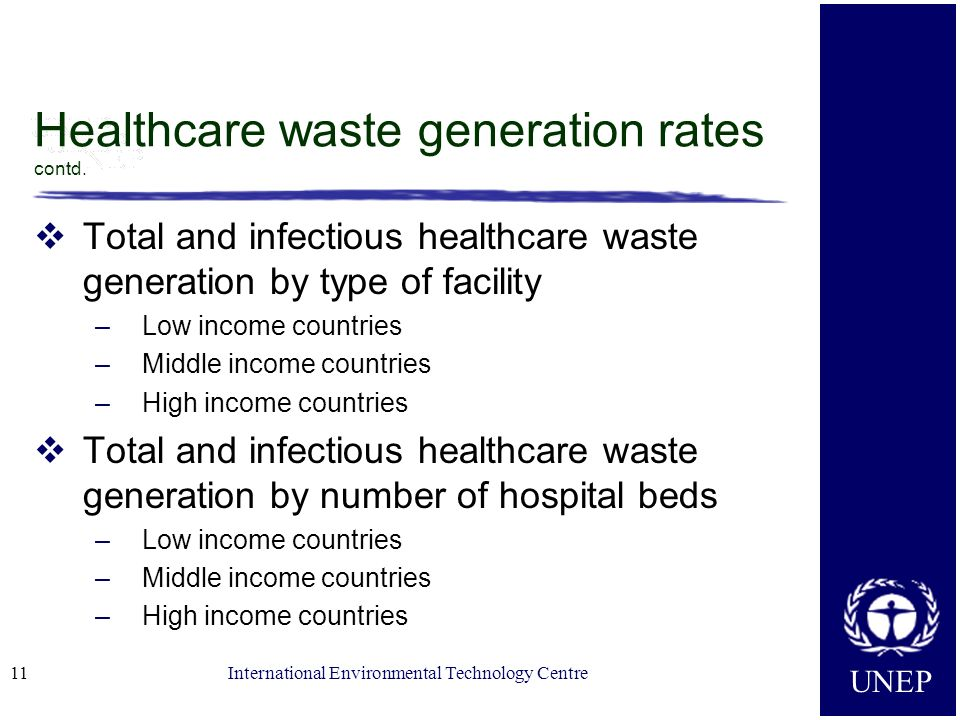 UNEP International Environmental Technology Centre Healthcare waste generation rates contd.