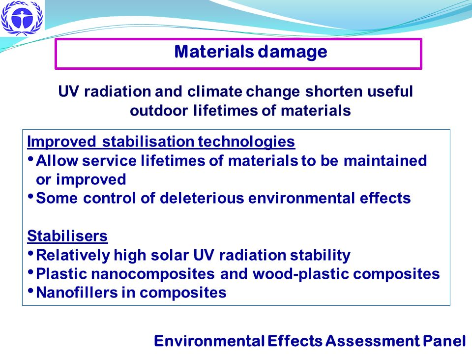 Improved stabilisation technologies Allow service lifetimes of materials to be maintained or improved Some control of deleterious environmental effect