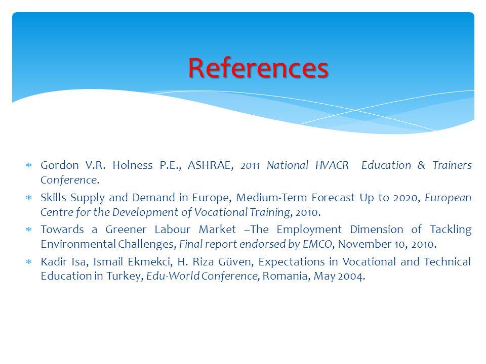 Gordon V.R. Holness P.E., ASHRAE, 2011 National HVACR Education & Trainers Conference.