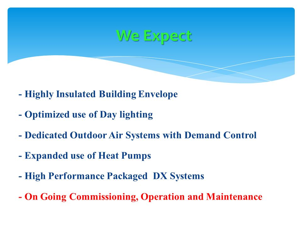 We Expect - Highly Insulated Building Envelope - Optimized use of Day lighting - Dedicated Outdoor Air Systems with Demand Control - Expanded use of H