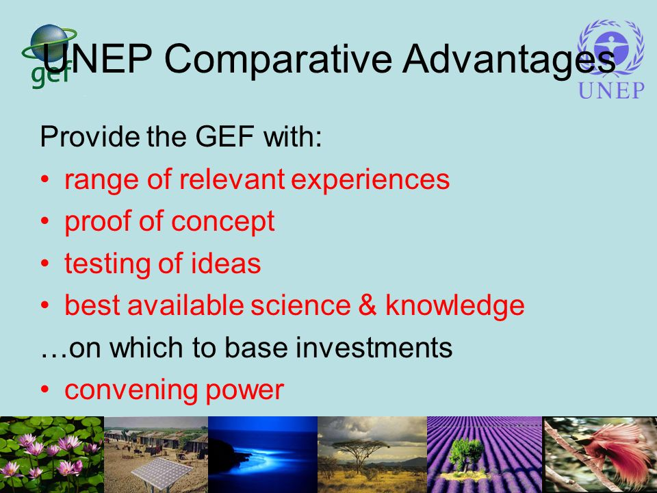 UNEP Comparative Advantages Provide the GEF with: range of relevant experiences proof of concept testing of ideas best available science & knowledge …on which to base investments convening power