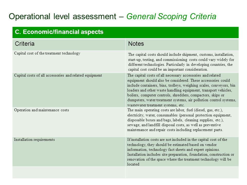 Operational level assessment – General Scoping Criteria C. Economic/financial aspects CriteriaNotes Capital cost of the treatment technology The capit