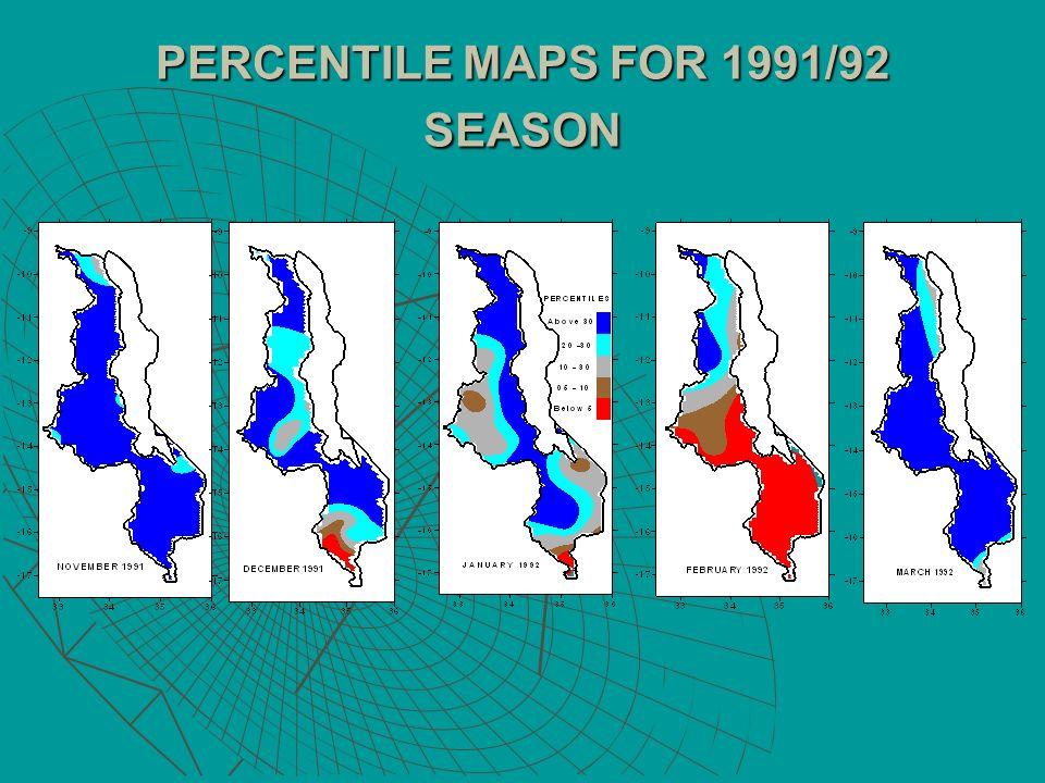 PERCENTILE MAPS FOR 1991/92 SEASON