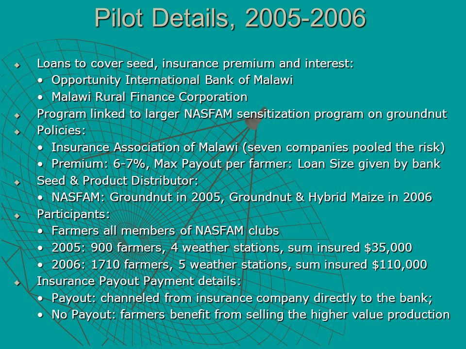 Pilot Details, 2005-2006 Loans to cover seed, insurance premium and interest: Loans to cover seed, insurance premium and interest: Opportunity Interna