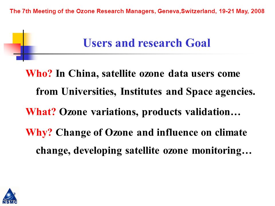 The 7th Meeting of the Ozone Research Managers, Geneva,Switzerland, 19-21 May, 2008 Who.