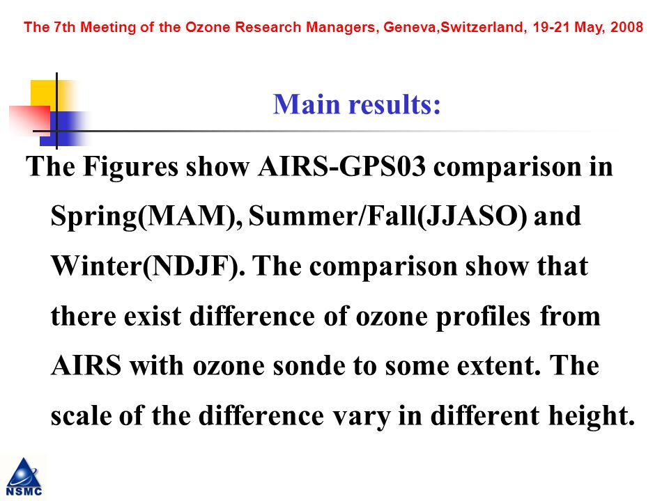 The Figures show AIRS-GPS03 comparison in Spring(MAM), Summer/Fall(JJASO) and Winter(NDJF).